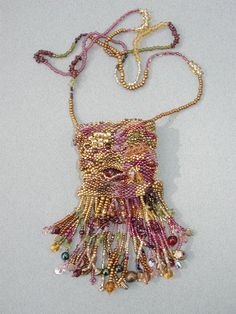 ☮ American Hippie Bohéme ☮  Rose Boho ☮ Beaded Fringe Bag