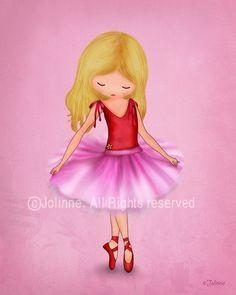 Ballerina dancer art print illustration for girls room or nursery decor,etsy childrens art, kids artwork, pink (blonde hair). $15.00, via Etsy.
