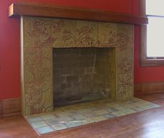 Custom carved ginkgo fireplace by Cha-Rie Tang Craftsman Tile, Craftsman Fireplace, Craftsman Interior, Custom Fireplace, Fireplace Hearth, Fireplace Surrounds, Fireplace Design, Fireplaces, Fireplace Ideas