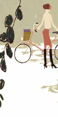 Cutest fashion accessory - a city bike - illustration by Tadahiro Uesugi
