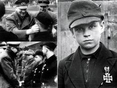 """Czech Alfred, at age of 12 became the youngest """"soldier"""" to receive the Iron Cross. Hitler boy, received the Iron Cross 2nd Class from Hitler personally.The youngest winner of the Iron Cross, Alfred Czech was interviewed by the newspaper Stern in 2006 and admitted that the photo of the Iron Cross signed by Adolf Hitler is still hanging in his living room. Alfred Czech died at the age of 78 on 13-07-2011 on the local small cemetery of Kleingladbach. Cross Of Iron, Erwin Rommel, German Boys, Bravest Warriors, The Third Reich, War Machine, Military History, World War Two, Old Photos"""