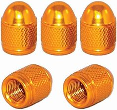 "Amazon.com : (5 Count) Cool and Custom ""Diamond Etching Round Top with Easy Grip Texture"" Tire Wheel Rim Air Valve Stem Dust Cap Seal Made of Genuine Anodized Aluminum Metal {Golden Chevy Yellow Color - Hard Metal Internal Threads for Easy Application - Rust Proof - Fits For Most Cars, Trucks, SUV, RV, ATV, UTV, Motorcycle, Bicycles} : Sports & Outdoors"
