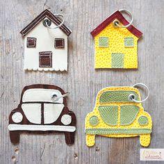 Schlüsselanhänger Haus und Käfer, diy, Leder, nähen, sewing, VW, Haus, Auto, Anhänger, Schlüssel, geprägtes Leder, Keychain