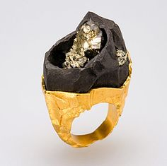Ring has an uncut quarry stone feel / Designed by Ornella Iannuzzi.  Pyrite in its matrix set in vermeil