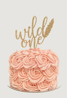 Wild One Cake Topper for First Birthday Party Gold Glitter