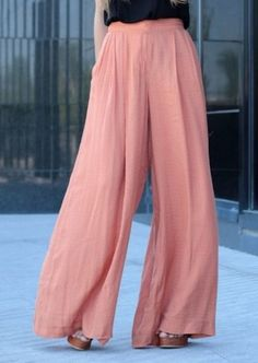 Women Trousers Solid Palazzo Wide Leg High Waist Long Loose Fit Casual Pants