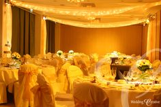 The Grove, Hertfordshire.  Fairy light roof swags and table lighting. www.weddingcreative.co.uk