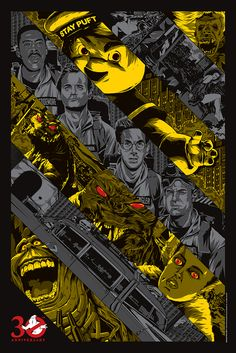 "This is the latest Ghostbusters anniversary tribute poster added to the collection at It was created by Anthony Petrie , and it's called ""Ghostbusted."" The poster will go on sale Thursday August at 3 PM PT / 6 PM ET at this link . Die Geisterjäger, The Real Ghostbusters, Ghostbusters Poster, Shows In Nyc, Screen Print Poster, Bros, Ghost Busters, Alternative Movie Posters, Character Design"