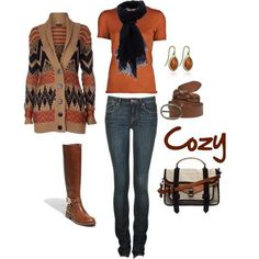 Keeping warm on a cold day. Love the pumpkin spice color.