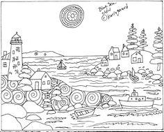 Rug Hook Craft Paper Pattern Blue Sea Folk Art Primitive Abstract Karla Gerard | eBay