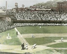 Great color shot of the 1919 World Series in Cincinnati. This series featured the Cincinnati Reds vs. the Chicago White Sox. The Reds won the series, but a few of the White Sox players were accused of  purposely losing the series in return for a large payday from a gambling ring. The subsequent trial, acquittal, public outrage, and outright bans for certain White Sox players was known as the Black Sox scandal.