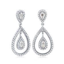 3e1198a4a67 Drop Earrings with 1 Carat TW of Diamonds in 14ct White Gold Michael Hills,  1