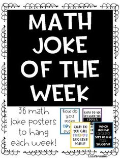 Show the fun side of math One poster for each week of school to rotate through 36 unique posters total Answer key included Students love seeing the new joke each week New. Math Classroom Decorations, Classroom Ideas, Classroom Door, Joke Of The Week, Fifth Grade Math, Sixth Grade, Third Grade, Math Bulletin Boards, Math Quotes
