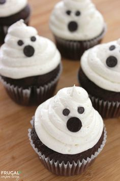 Ghost Cupcakes- easy to make with a cake box recipe plus homemade Marshmallow Buttercream Frosting. Recipe details on Frugal Coupon Living. Pin to Pinterest