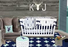 Modern Hunter Nursery! Perfect combo of mint and navy, rustic wood, buck, stag and arrows!