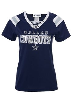 Dallas Cowboys T-Shirt - Navy Blue Cowboys Lace Up Short Sleeve Tee