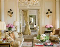French style living room with flowers, chandelier