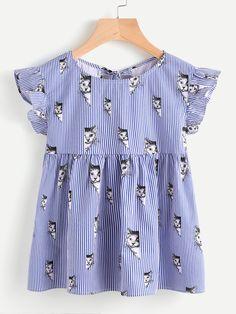 Shein Cat Print Split Tie Back Striped Babydoll Top Little Girl Fashion, Little Girl Dresses, Fashion Kids, Outfits Niños, Spring Outfits, Fashion Outfits, Whimsical Fashion, Cute Blouses, Cute Tops