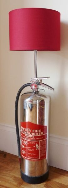 Stunning lamp utilising a stainless steel Amerex fire extinguisher as the base. Also available as a full height standard lamp. Stainless steel extinguisher, chromed copper upright with steel core and chrome BC switched lampholder complete with shade ring. Supplied with 2m of black plastic flex and black mains plug. Max bulb 100w.