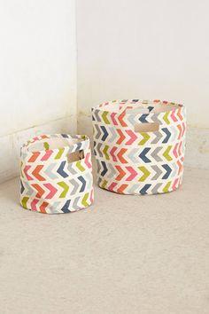Chevron-Pop Canvas Basket - anthropologie.com