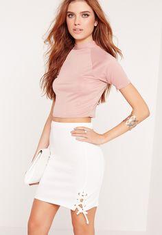Missguided - Lace Up Hem Mini Skirt White