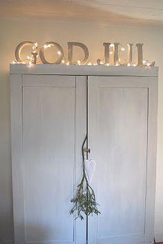 God Jul Sign with Lights