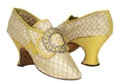 Yellow silk shoes with buckles, French, c.1760s. by oldrose