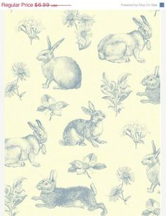 Pen and Ink Sketch Bunny Rabbit Storybook Toile Wallpaper Blue Cream Faux Sponge Texture - Baby Nursery, Garden Decor - By The Yard - AT4261