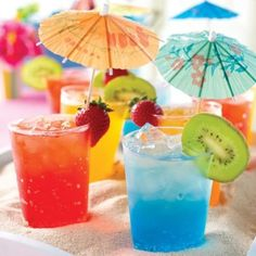 Tropical Drinks for a Luau, with Margarita, Sparkling Strawberry Cocktail, Watermelon Mai Tai, and Lime & Mint Soda #recipes