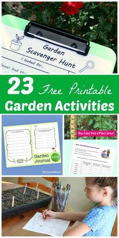 Free printable garden ideas for kids!  Garden journals, plant tracking, scavenger hunts and more!