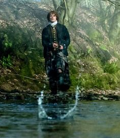 "Outlander~S1 E9~ Jamie: ""Every day, every man has a choice, between right and wrong, between love and hate, sometimes between life and death. And the sum of those choices becomes your life. The day I realized that is the day I became a man."" Jamie skipping stones in his secret refuge at Castle Leoch."