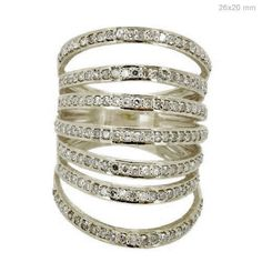 Special Listing !!! Handmade Diamond Pave 14K Solid White Gold Cage Ring Jewelry #Handmade #Band