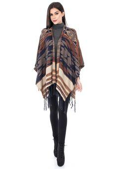 Poncho multicolor - JR264 Plaid Scarf, Kimono Top, Bohemian, Turtle Neck, Casual, Tops, Women, Style, Fashion