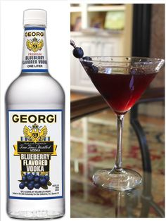Classic Georgi Blueberry Martini:  2 oz.  Georgi Blueberry Flavored Vodka/ 1 oz.  Lime Juice/ 1 1/2 oz.  Cranberry Juice/ Garnish with Fresh Blueberries