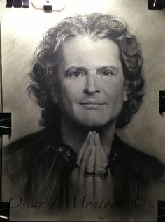 """""""Carlos Vives"""" Life Size. Charcoal and White Chock on toned paper. 16"""" x 20"""""""