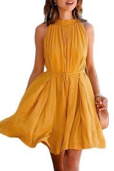 Orange Crew Neck Sleeveless Pleated Mini Dress US$17.95