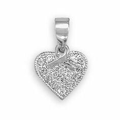 Awareness Ribbon Heart Pendant with Pave Cubic Zirconia Rhodium on Sterling Silver AzureBella Jewelry. $18.58. Jewelry gift box included. .925 sterling silver plated with hard-wearing rhodium - same as white gold. Measures 11.5mm. Sparkling cubic zirconia