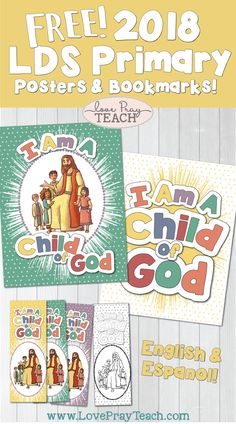 "2018 LDS Primary Theme Poster ""I Am a Child of God"" Free printable poster and bookmarks! www.LovePrayTeach.com"