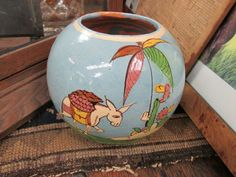Vintage Mexican Pottery tlaquepaque Tecomate Ball vase Large w/ Donkey   eBay