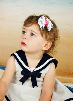 Navy and Pink Anchor Pinwheel Bow, Girls Anchor Hair Bow, Anchor Hair Bow, Girls Hair Bow, on Etsy, $2.50