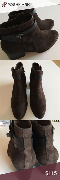 """NWOT Coach Brown Suede w/Leather Detail Booties NWOT Coach Brown Suede w/Leather Detail Booties. Brand New Display Model. 2.5"""" chunky heel.  Size 7.5 Coach Shoes Ankle Boots & Booties"""