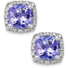 9ct White Gold Amethyst And Diamond Stud Earrings H Samuel The Jeweller Purple Pinterest