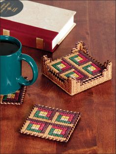 Plastic Canvas - Coaster Patterns - Other Patterns - Log Cabin Coaster Set