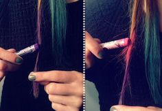 Take an oil pastel, color your hair and then spray with hairspray. Gorgeous. so doing this!!