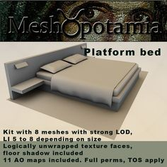 Mission style bed with fabrics and nightstand. Mesh♉potamia meshes and textures ======================= Mesh♉potamia Creator tools - USER . Modern Platform Bed, Mesh, Flooring, Bedroom, Wood Flooring, Bedrooms, Floor, Dorm Room, Dorm