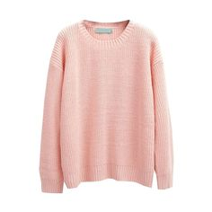 Plain Pull Over Round Neck Sweater (155 HRK) ❤ liked on Polyvore featuring tops, sweaters, beautifulhalo, pullover, pink sweater, pink top, pink pullover, sweater pullover and pullover sweater