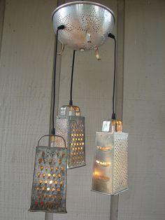 funky kitchen lighting. Upcycled Vintage Colander And Grater Pendant Light Funky Kitchen Lighting H