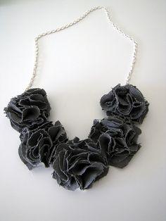 Pom Pom Bib Necklace - great way to use your scrap fabric