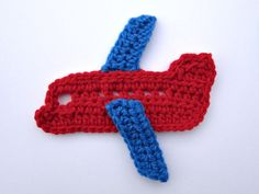 1pc Large Crochet AIRPLANE Applique. Available in different colors. Choose body and wings colors  Size: 6  Made with thick weight yarn.