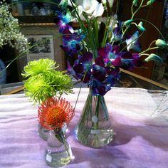 Blue irises, spider mums